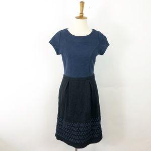 Boden Navy & Blue Colorblock Midi Dress Size 6